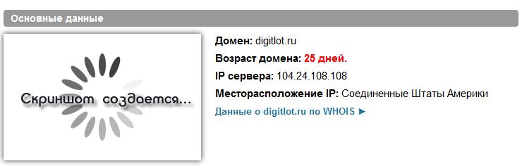 Возраст сайта digitlot.ru