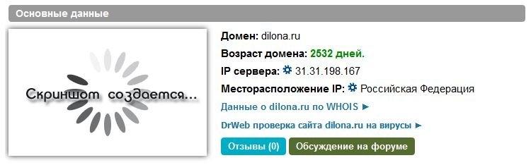 Возраст домена dilona.ru