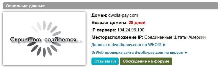 Возраст домена dwolla-pay.com