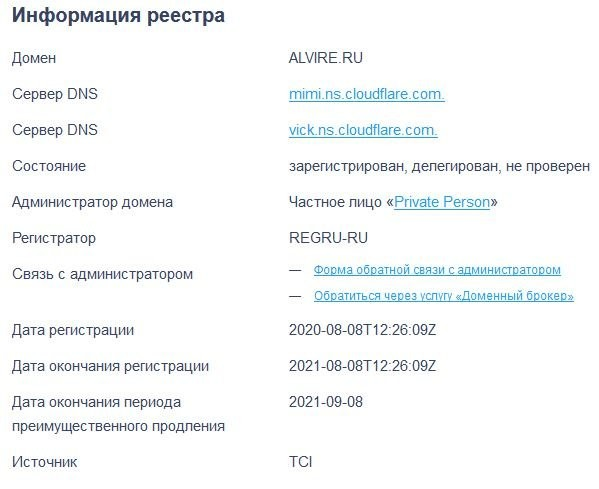 Возраст домена alvire.ru
