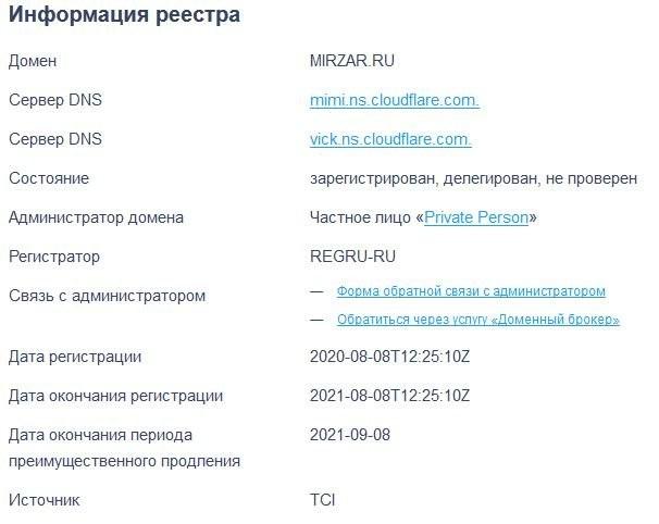 Возраст mirzar.ru