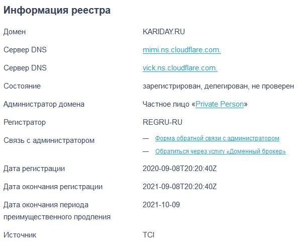 Возраст kariday.ru