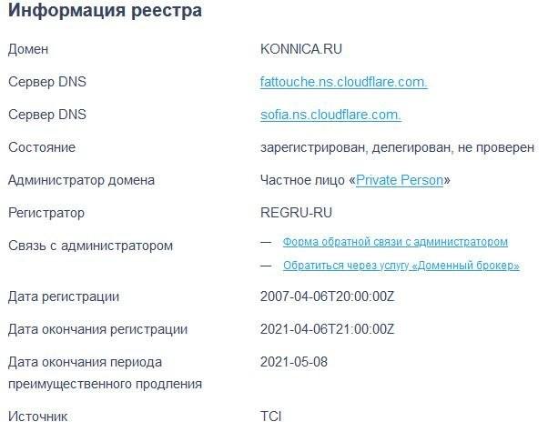 Возраст konnica.ru