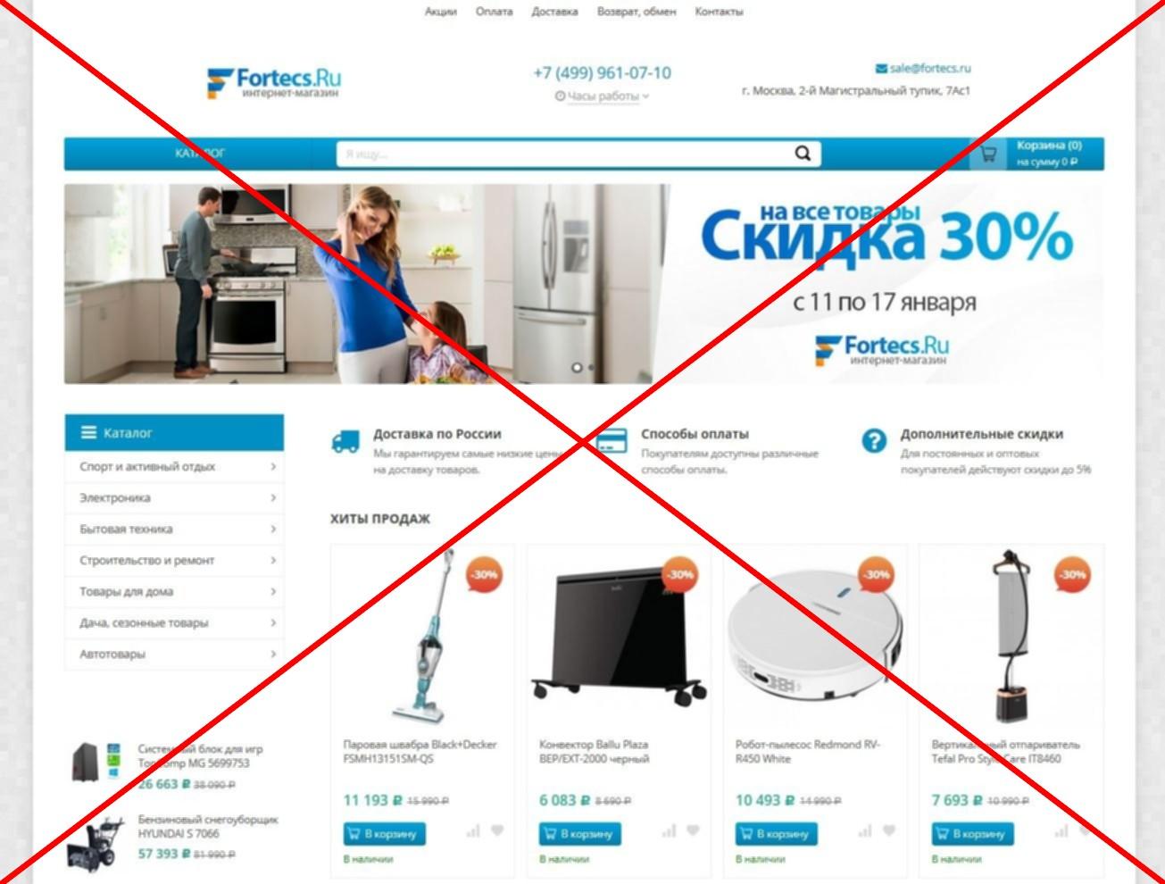 Скрин лохотрона fortecs.ru